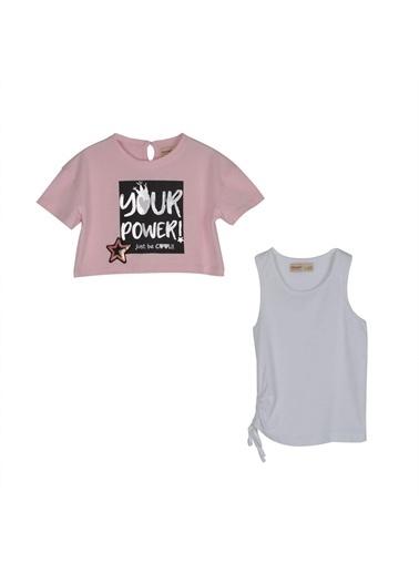 Silversun Kids Kız Çocuk Baskılı Tişört Ile Yanı Ip Büzgülü Atlet !Kt 215331 Pembe